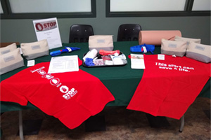 Display table of stop the bleed items at an event