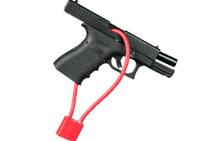 Demonstration of a trigger lock properly on a gun