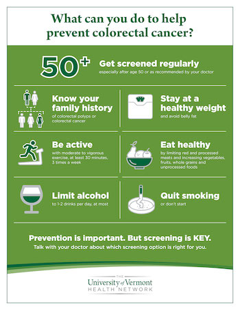 """Preview image of a PDF entitled, """"What can you do to help prevent colorectal cancer?"""". Some of the suggestions include: know your family history and stay at a healthy weight."""