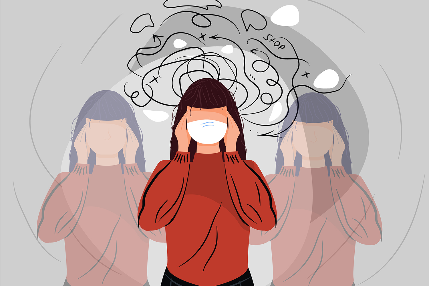 Graphic/Illustration of woman holding her temples.