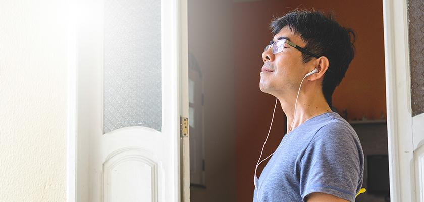 Man practicing mindfulness