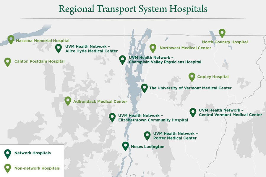 Map of Vermont & Norther New York Hospitals