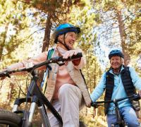 Two seniors riding bikes in the woods.