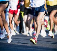 Racers' legs and feet in fun run