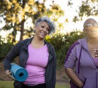 Senior black women working out.