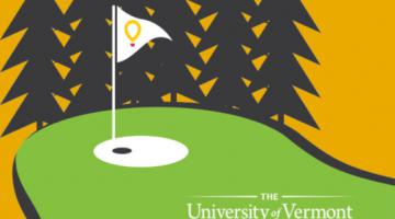 Illustration of a golf course hole with pine trees in the background. The UVM Children's Hospital logo is in the bottom right corner.